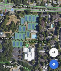 Image of aerial view of Natomas Sports Club showing the 17 tennis courts.