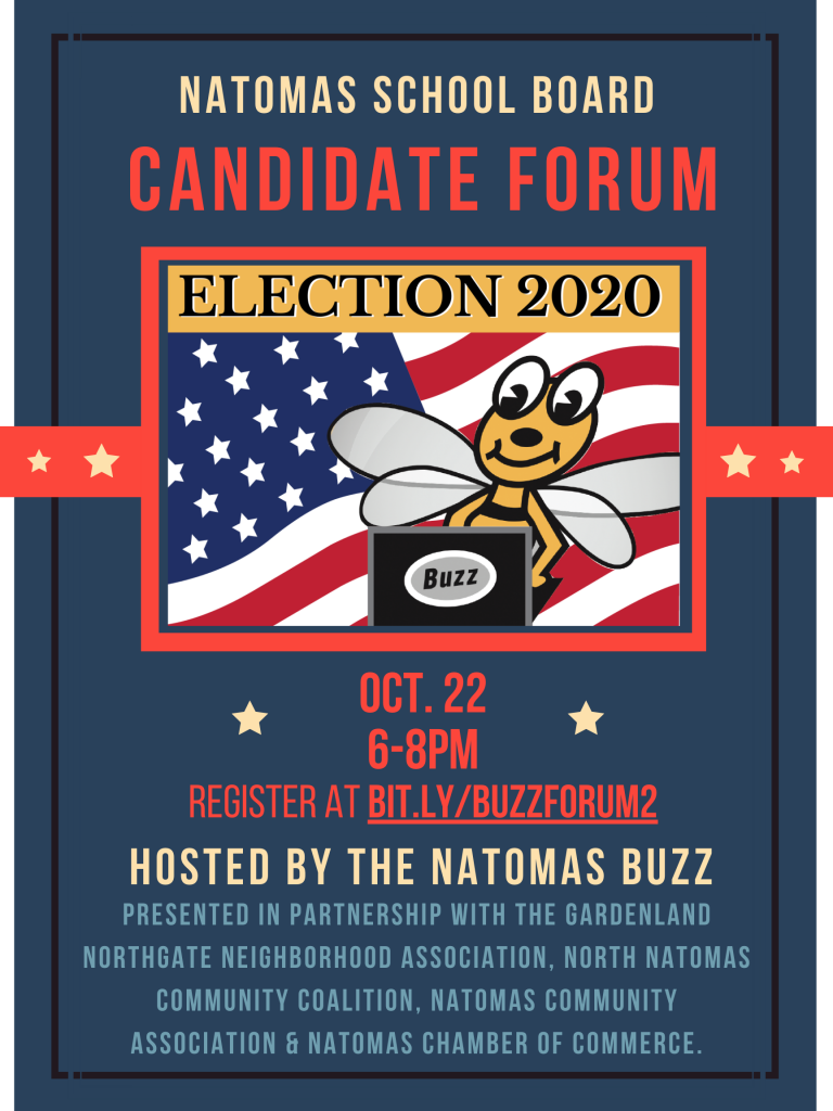Image of flyer with details about Oct. 22 online candidate forum being hosted by The Natomas Buzz.