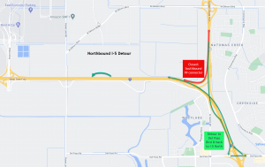 Image of northbound I-5 closure detour map.