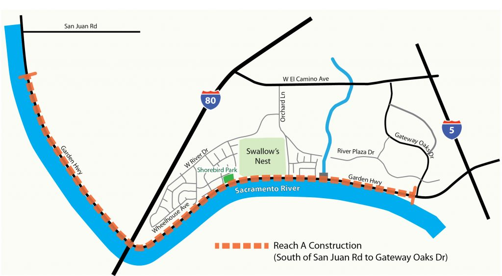 Image of area along Garden Highway where levee improvement site preparation work will be done.