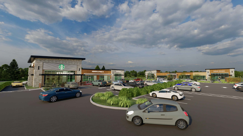 Image of rendering of proposed project which shows drive-thru Starbucks.