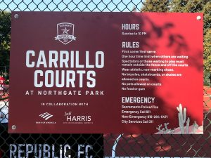 Image of sign with rules for the new futsal court.