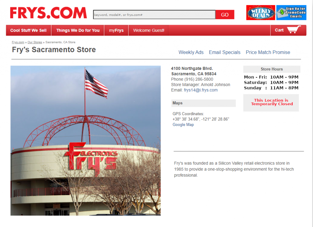 Image of Frys.com website showing the location at 4100 Northgate Boulevard as temporarily closed.