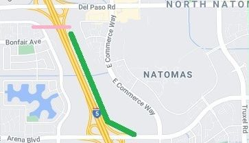 Image of map showing location of new bike trail, west of East Commerce Way and parallel to Interstate 5.