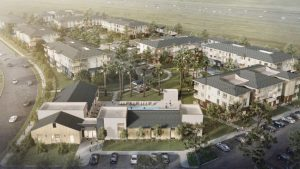 Image of aerial rendering looking northeast at the Duckhorn Drive Apartments complex. / Source: City of Sacramento Development Tracker