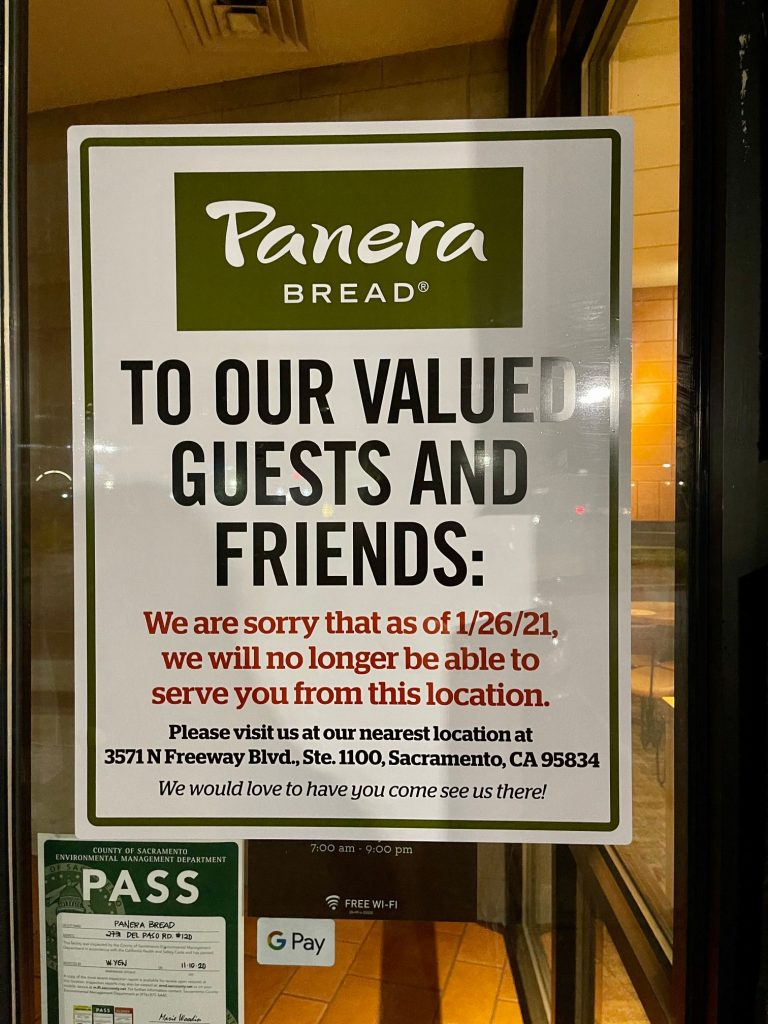 Panera Brea To Our Valued Guests and Friends: We are sorry that as of 1/26/21, we will no longer be able to serve you from this location. Please visit us at our nearest location at 3571 N Freeway Blvd, Suite 1100, Sacramento, CA 95834. We would love to have you come see us there!
