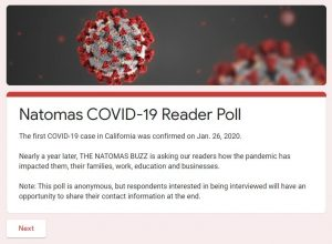 Natomas COVID-19 Reader Poll The first COVID-19 case in California was confirmed on Jan. 26, 2020. Nearly a year later, THE NATOMAS BUZZ is asking our readers how the pandemic has impacted them, their families, work, education and businesses. Note: This poll is anonymous, but respondents intersted in being interviewed will have an opportunity to share their contact information at the end. Next