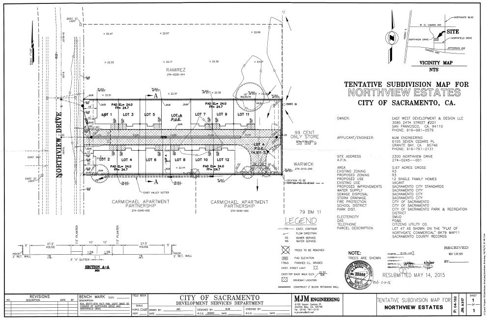 Tentative Subdivision Map for Northview Estates city of Sacramento, CA