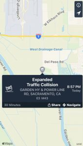 Expanded Traffic Collision Garden Hy & Power Line Rd, Sacramento, cA E3 M43 8:57 PM 30 minutes share Navigate