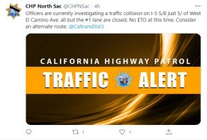 California Highway Patrol Traffic Alert CHP North Sac Officers are currently investigating a traffic collission on I-5 S/B just S/of West El Camino Ave. all but the #1 lane are closed. No ETO at this time. Consider an alternate route. @CaltransDist3
