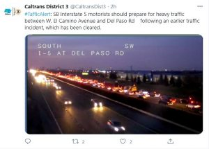 Caltrans District 3 @CaltransDist3 #TrafficAlert: SB Interstate 5 motorists should prepare for heavy traffic between W. El Camino Avenue and Del Paso Rd following an earlier traffic incident, which ahs been cleared.